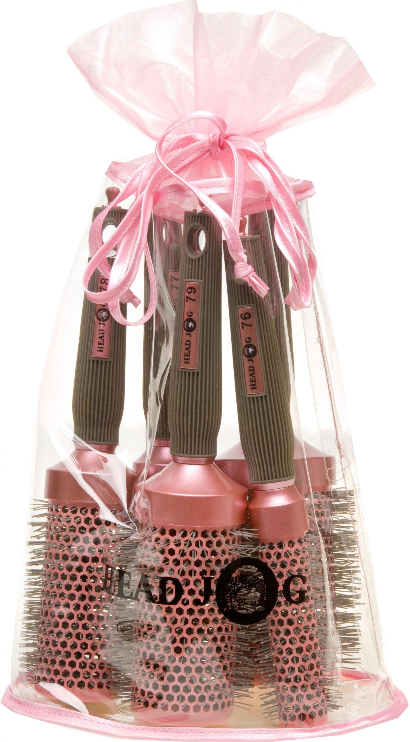 Head Jog - Oval bag Pink Brush Set in FREE Bag